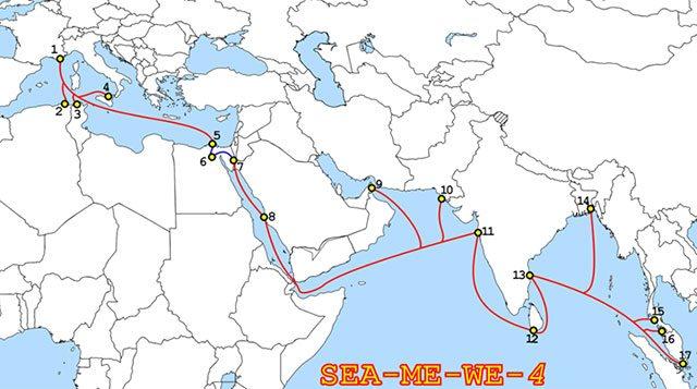 Parcours du câble sous-marin Sea-Me-We 4, construit en 2005 par Alcatel- Lucent et Fujitsu