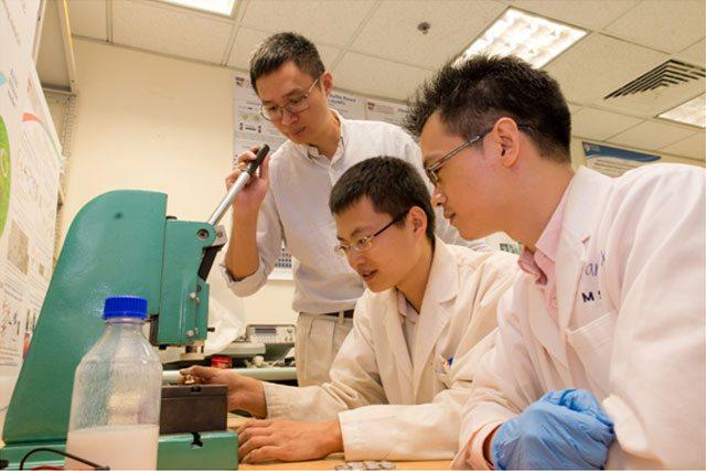 De gauche à droite, le professeur Chen Xiaodong supervise le travail de deux membres de son équipe, Tang Yuxin et Deng Jiyang