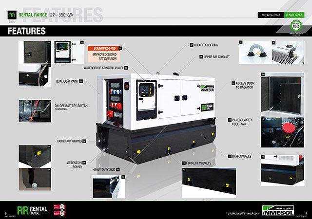 Schéma des différentes parties et des différentes caractéristiques de la nouvelle gamme Rental d'Inmesol