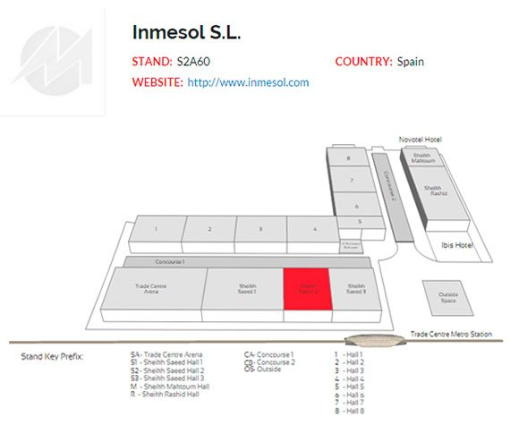 Emplacement du stand d'INMESOL au Dubai World Trade Centre