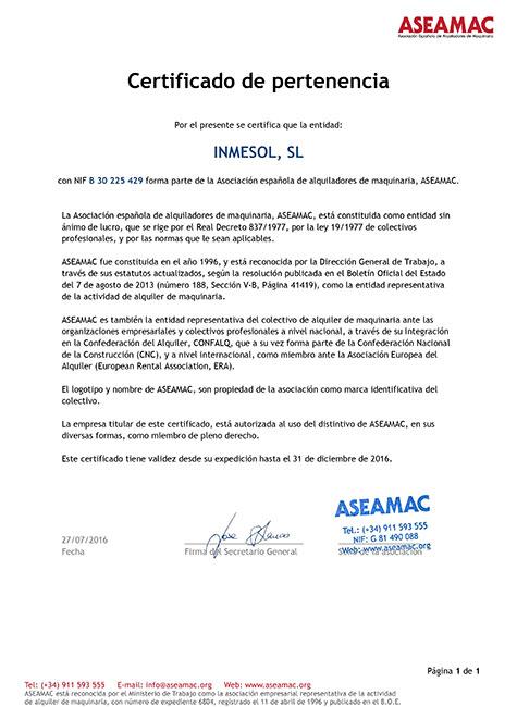 ASEAMAC, Certificat d'adhésion