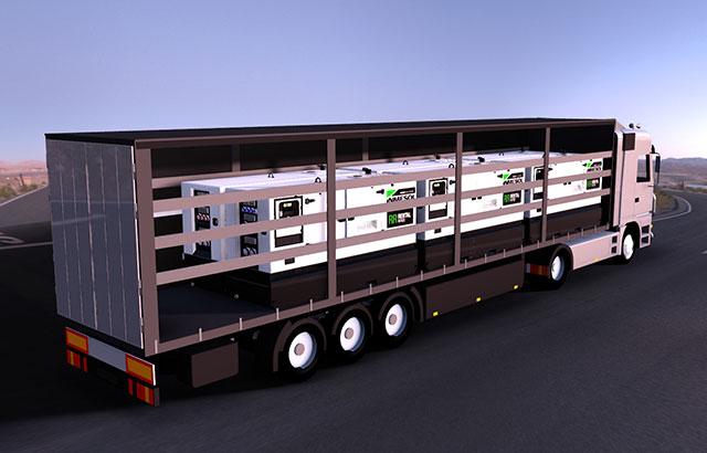 Infographie d'un camion de 40 pieds transportant 6 unités des modèles de groupes électrogènes IRN-165, IVRN-145 et IVRN-165