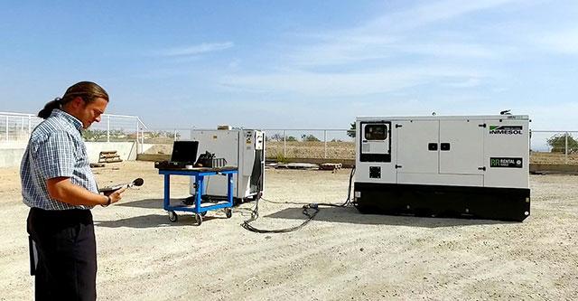 Réalisation des tests de mesure des émissions sonores du dispositif IIRN-165 par Sergio Frutos
