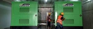 Les deux centrales électriques de 1010 kVA LTP récemment installées dans le sous-sol de l'hôpital central « Las Colinas »