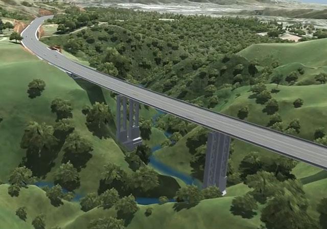 Infographie du pont de la future autoroute Gully