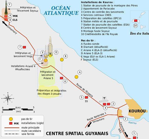 Carte localisation des tours de lancement. Image : Wikipedia