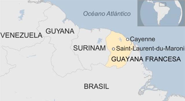 Carte localisation du centre Spatial Européen de Kourou ou Centre Spatial Guyanais