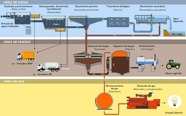 INFOGRAPHIE des étapes types d'une usine de traitement des eaux usées