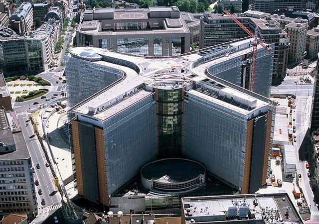 Cette image est la propriété de l'Union Européenne. Vue aérienne du bâtiment Berlaymont